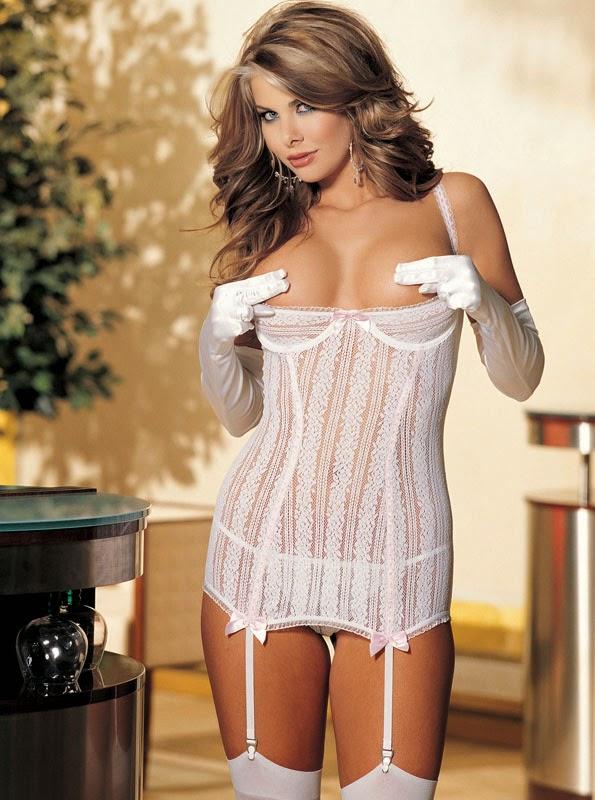 Open bust chemise set