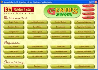 Genius Maker: Software Pendidikan Meliputi Mata Pelajaran Matematika, Fisika dan Kimia untuk siswa SMA