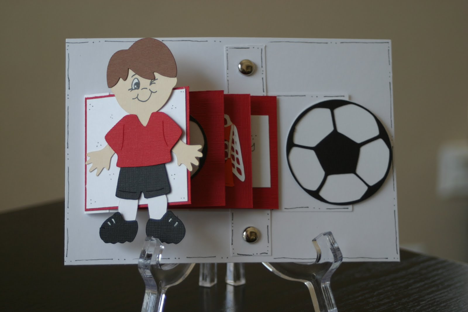 the craftin' b soccer birthday pull card, Birthday card