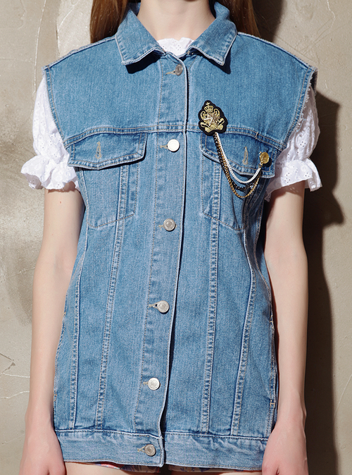 Boyfriend Denim Vest with Chain and Wappen Patch