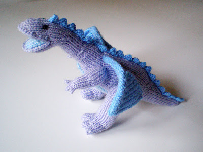 knitted and crocheted blue and purple dragon by morrgan