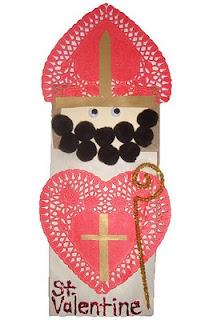 St Valentine, Paper bag Puppet, Craft for kids