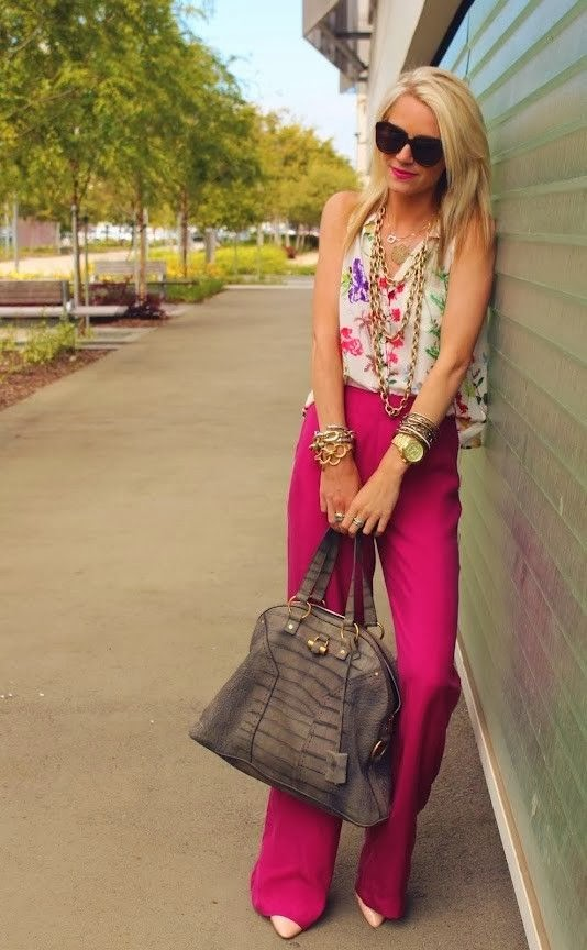 high waist pants, crop top, floral, brights, office style