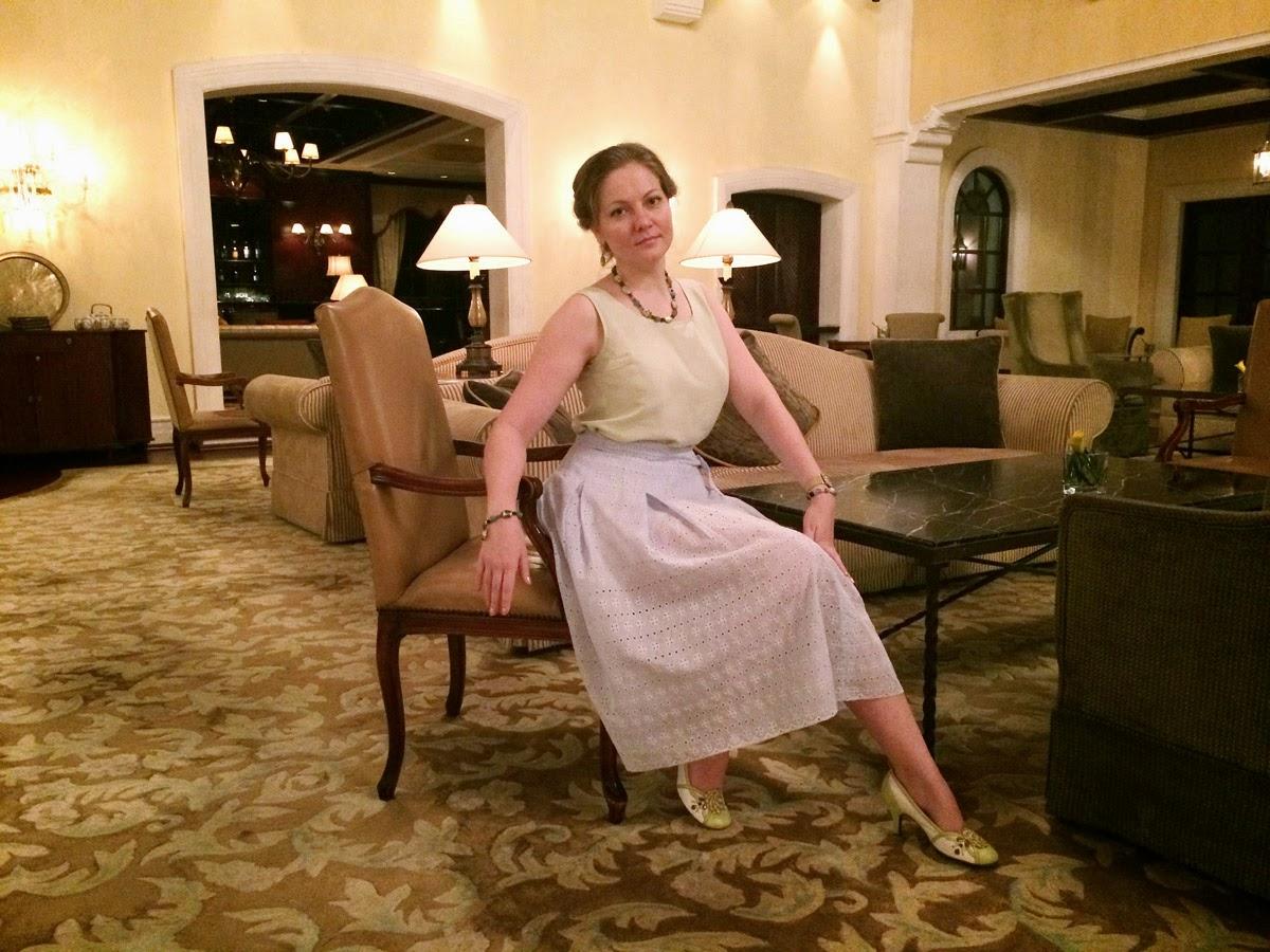 лук с винтажной юбкой-шитьем