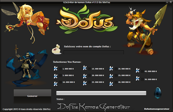 Generateur de Kamas Dofus