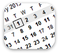 Calendar with January 1 highlighted