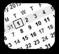 Calendar with January 1 highlighted