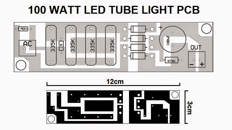 Capacitor Based LED Tubelight Circuit Using 1 Watt LEDs ...
