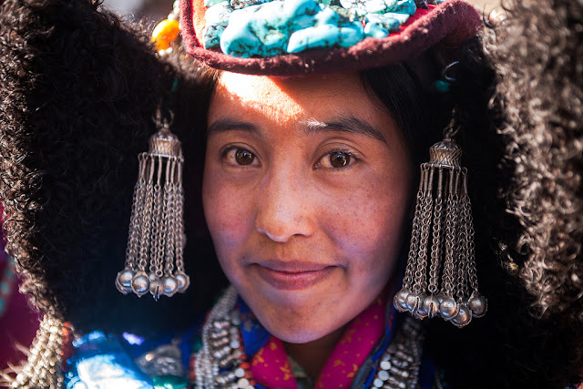 Girl from Ladakh wearing hanging ethnic jewelry