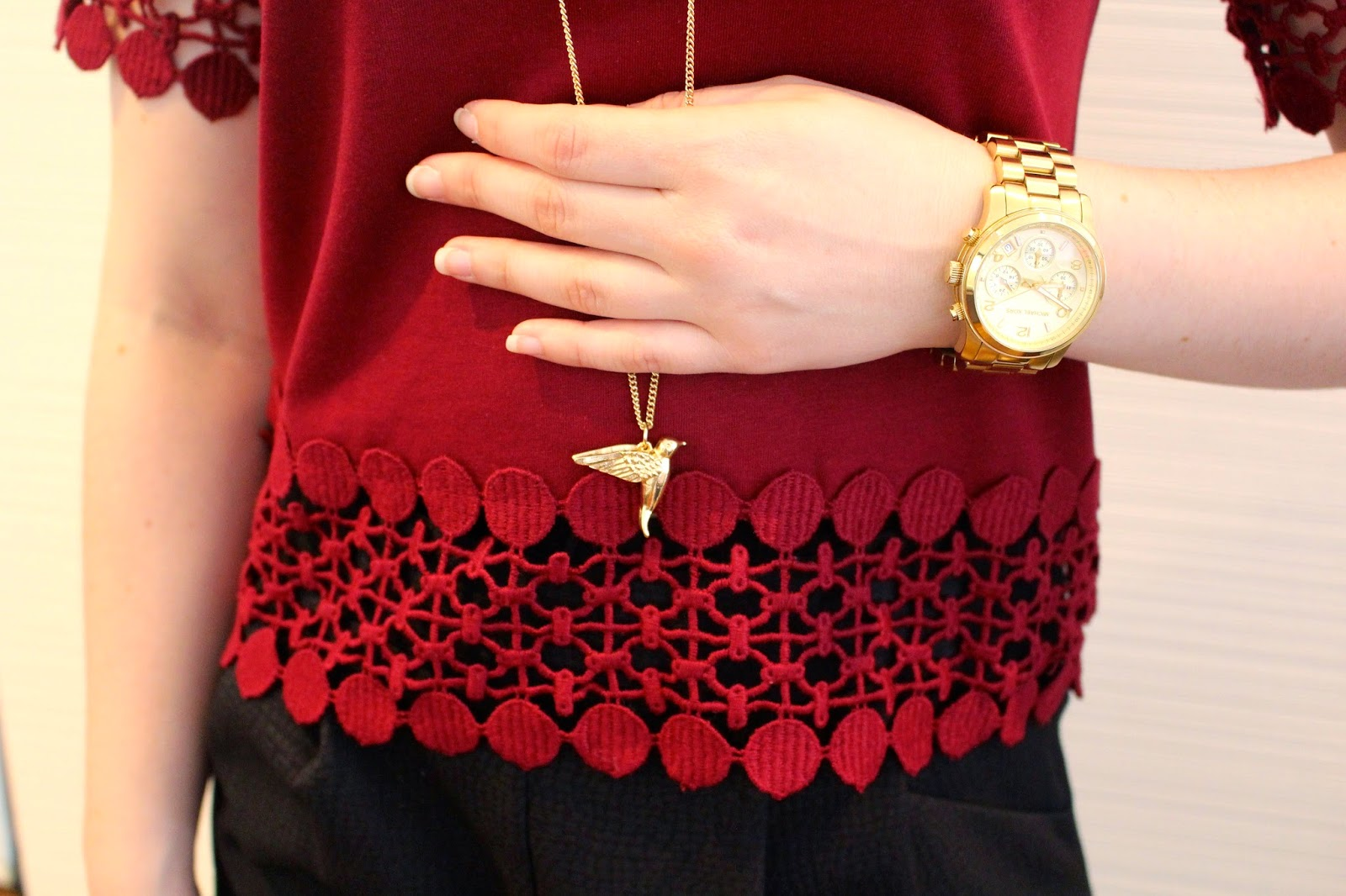 Black high waisted tailored shorts, black opaque tights, maroon crochet t-shirt, black booties, long gold necklace, gold michael kors watch, summer outfit, spring outfit, autumn outfit, fall outfit, winter outfit, everyday outfit, college outfit, uni outfit, short girl outfit
