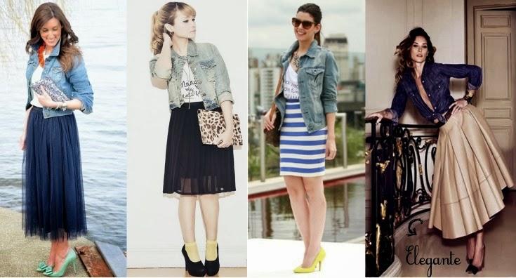 Como usar, Saia Midi, jaqueta, jeans