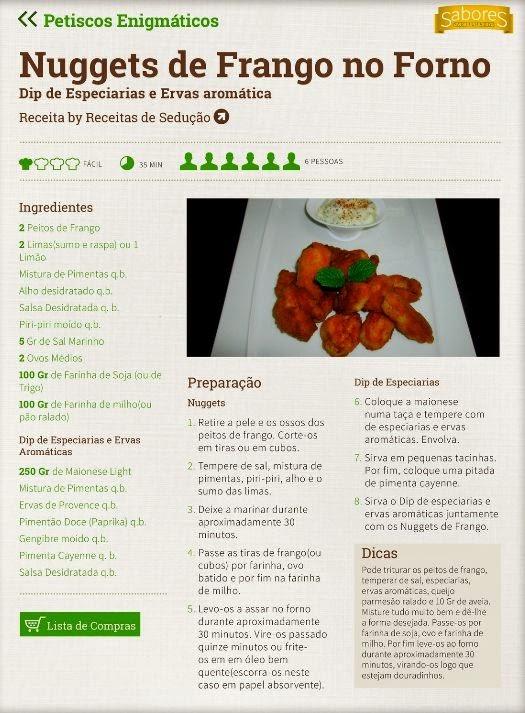 Nuggets de Frango no forno com dip de especiarias e ervas aromáticas