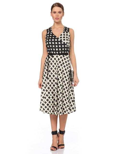 siyah beyaz puantiyeli askılı uzun elbise