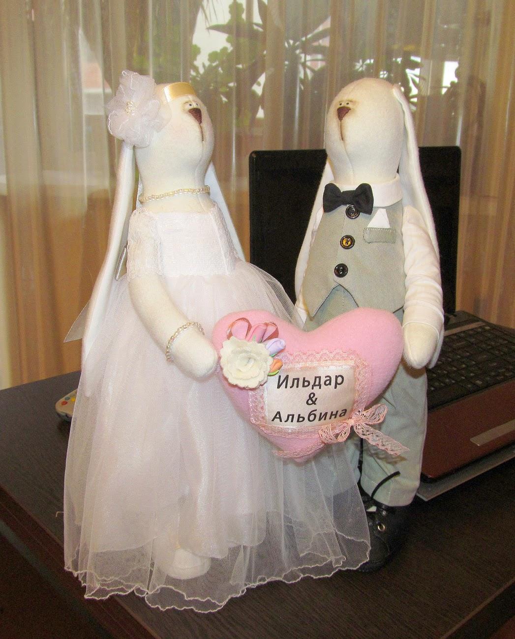 игрушки ручной работы, зайцы, свадебные