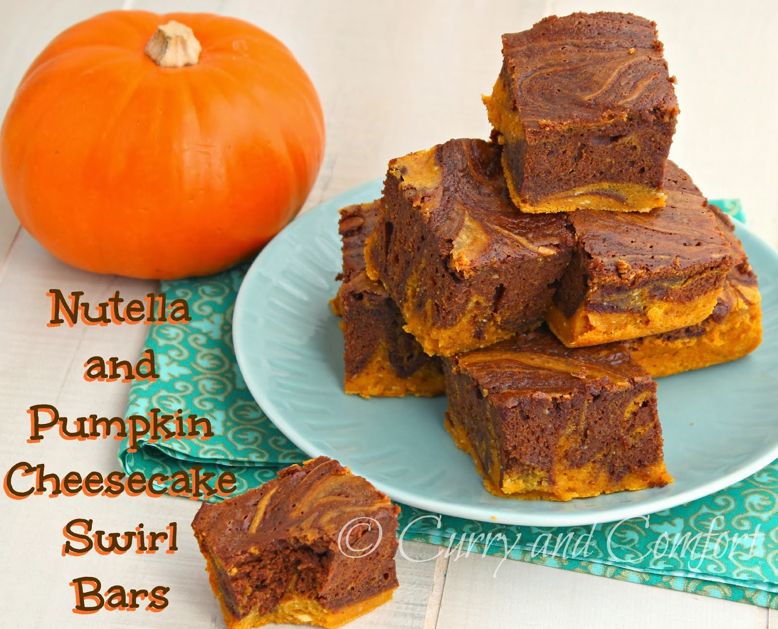 Kitchen Simmer: Nutella and Pumpkin Cheese Cake Swirl Bars