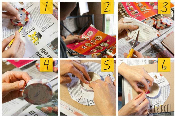 """Para empezar, coloca la tapa en la parte de atrás del papel y marca con un lápiz el contorno de la tapa. A continuación, haz pequeños cortes paralelos alrededor del círculo.  Con ayuda de un pincel, pinta la tapa con cola o otro tipo de pegamento, coloca con cuidado el papel encima y empieza a plegar uno a uno los """"flecos"""" que cortaste antes. Este paso hay que hacerlo con cuidado, ya que si lo hacemos muy rápido pueden quedar demasiadas dobleces o romperse el papel."""