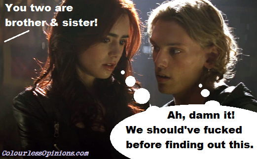 Clary & Jace meme Mortal Instruments City of Bones movie still - Lily Collins & Jamie Campbell Bower