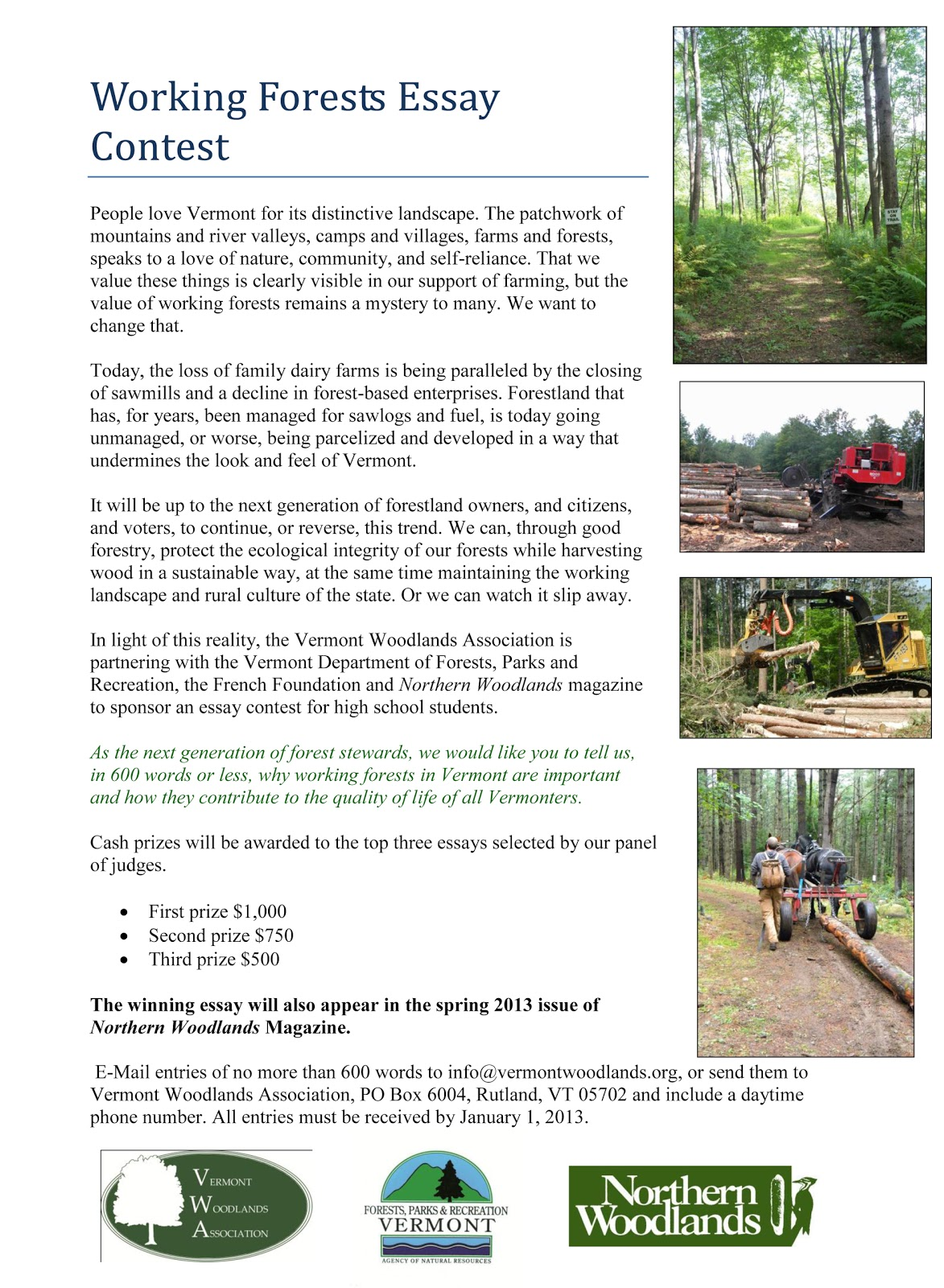 essay contest vermont state parks in light of this reality the vermont woodlands association is partnering the vermont department of forests parks and recreation