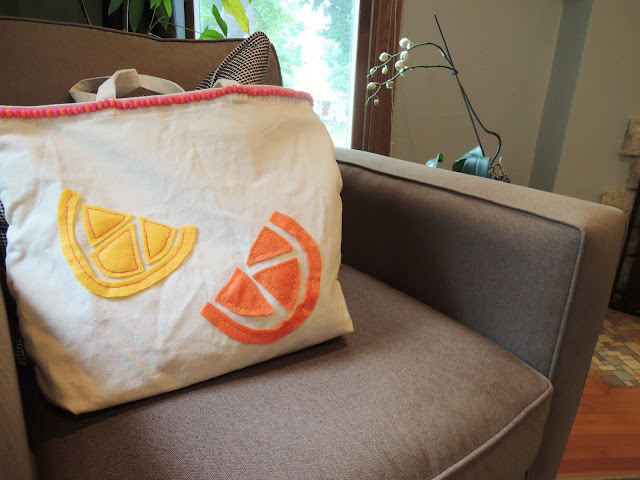 DIY Summer Citrus Pom Pom Tote