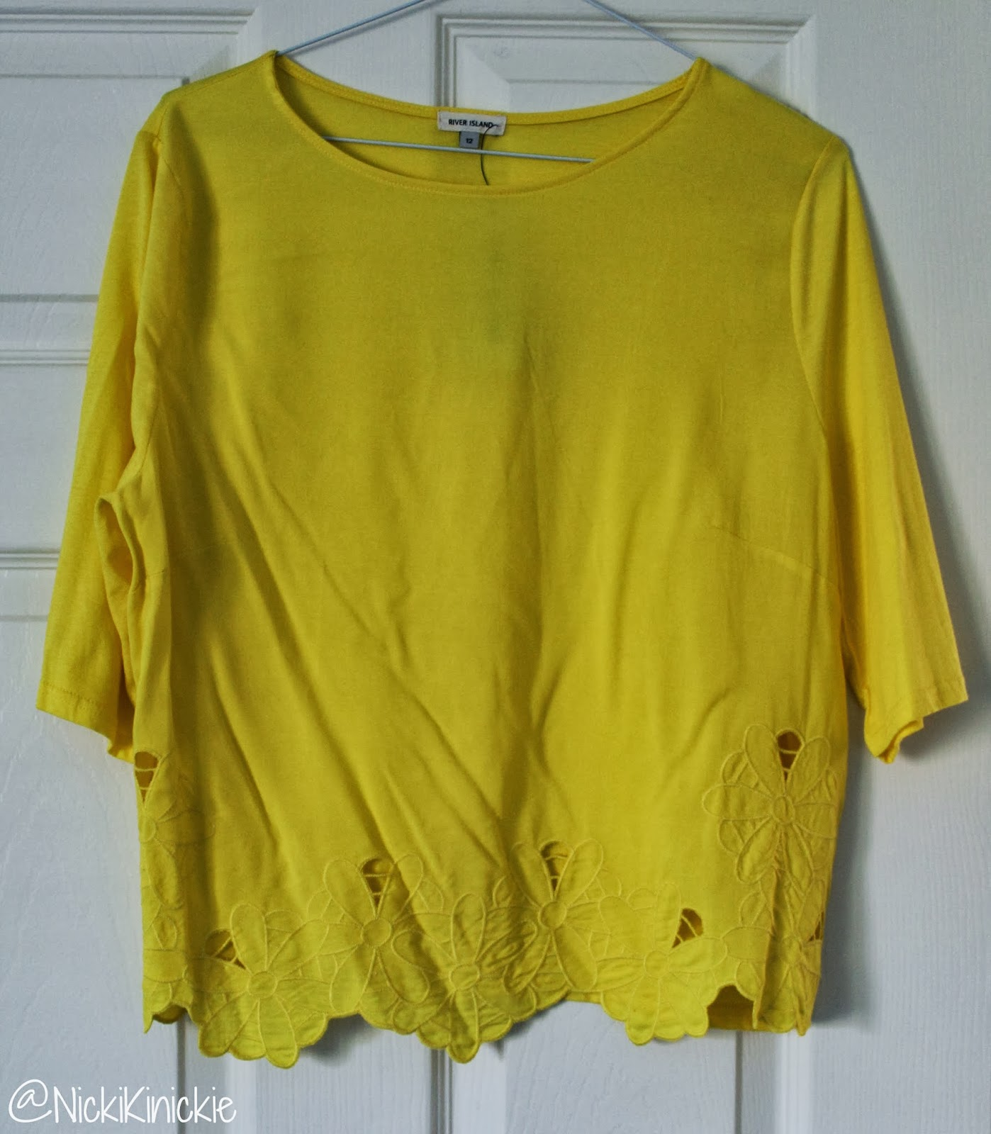 River Island, Tee, Yellow, Floral