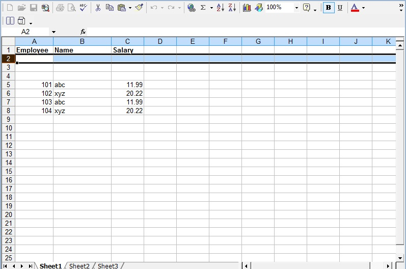 read excel and write db2 data using apache poi hssf implementation