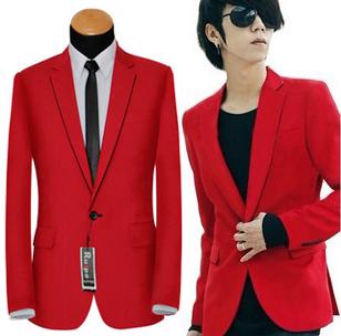 Mens Red Blazer Tailored Sleek Fit