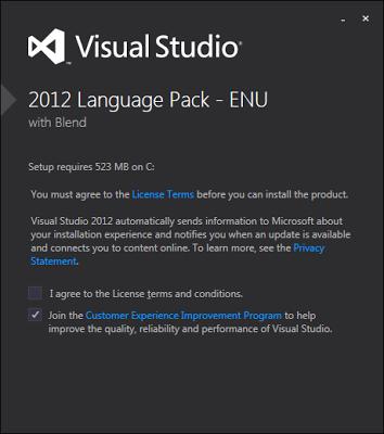 Visual Studio 2012安裝語系檔案畫面