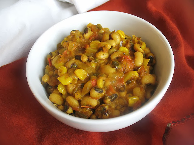 curried black-eyed peas with corn