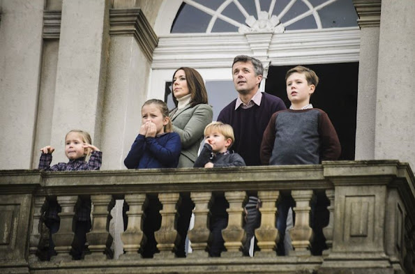 Crown Prince Frederik and Crown Princess Mary, with their four children, Prince Christian,Prince Vincent, Princess Josephine and Princess Isabella