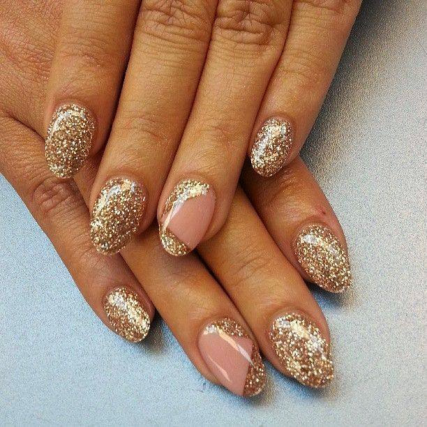 acrylics LED polish manicure with sequin feats nail art design Gel Nails in french pink cover and custom golds.