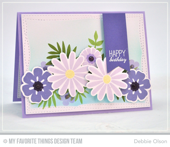 Birthday Bouquet Card by Debbie Olson featuring the Lisa Johnson Designs Birthday Greetings stamp set, the Large Desert Bouquet stamp set and Die-namics, and the Wonky Stitched Rectangle STAX and Fishtail Flags Layers STAX Die-namics #mftstamps