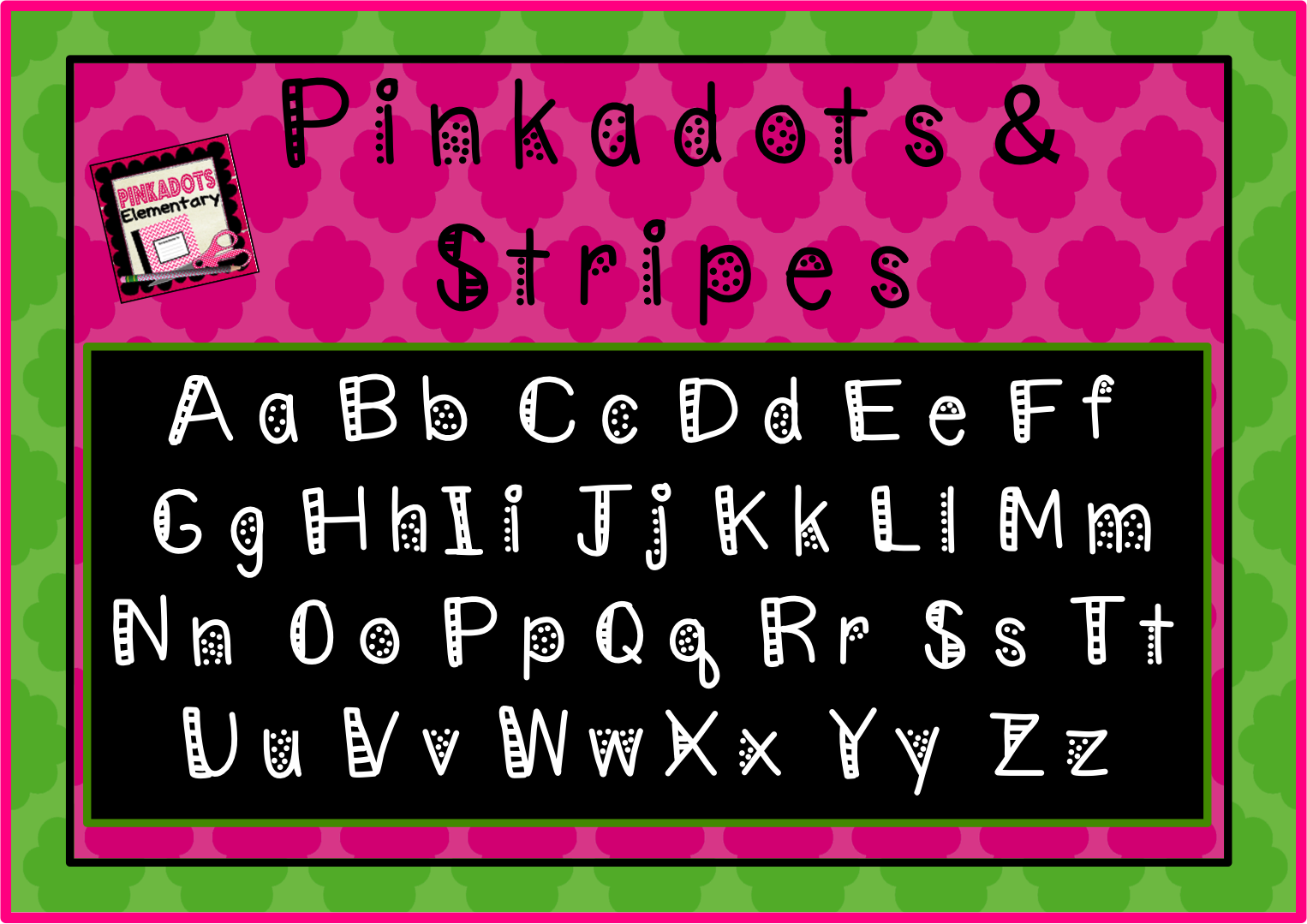 http://www.teacherspayteachers.com/Product/Pinkadots-Stripes-Free-Font-Polkadots-and-Stripes-1304441