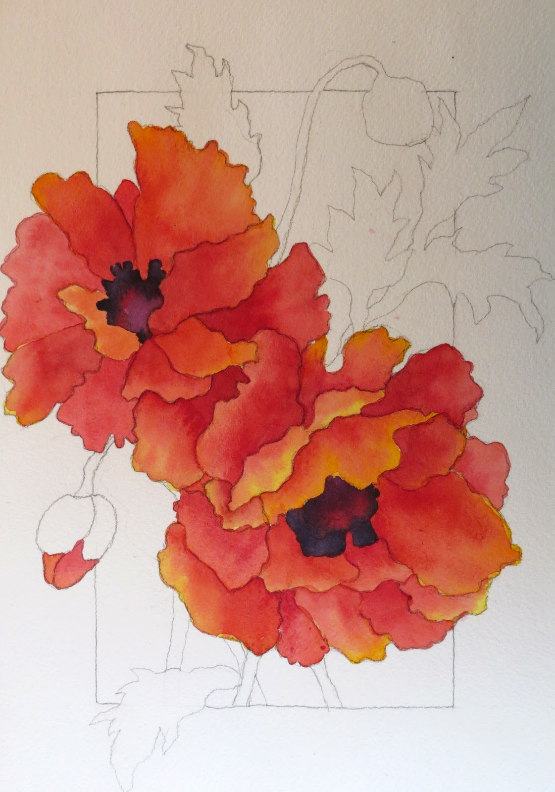 The Painted Prism Watercolor Workshop Painting Red Poppies