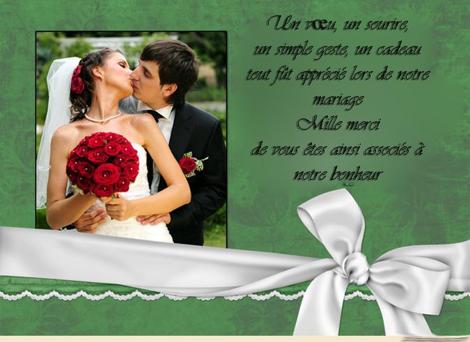 carte remerciement mariage invitation mariage carte mariage texte mariage cadeau mariage. Black Bedroom Furniture Sets. Home Design Ideas