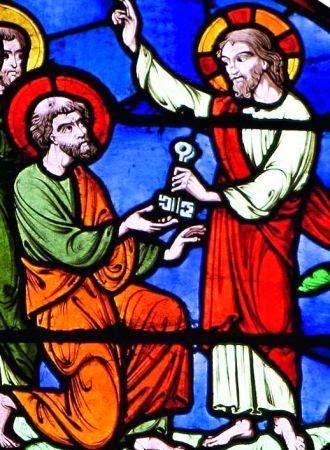 As chaves representam a autoridade que Cristo dá a sua Igreja.