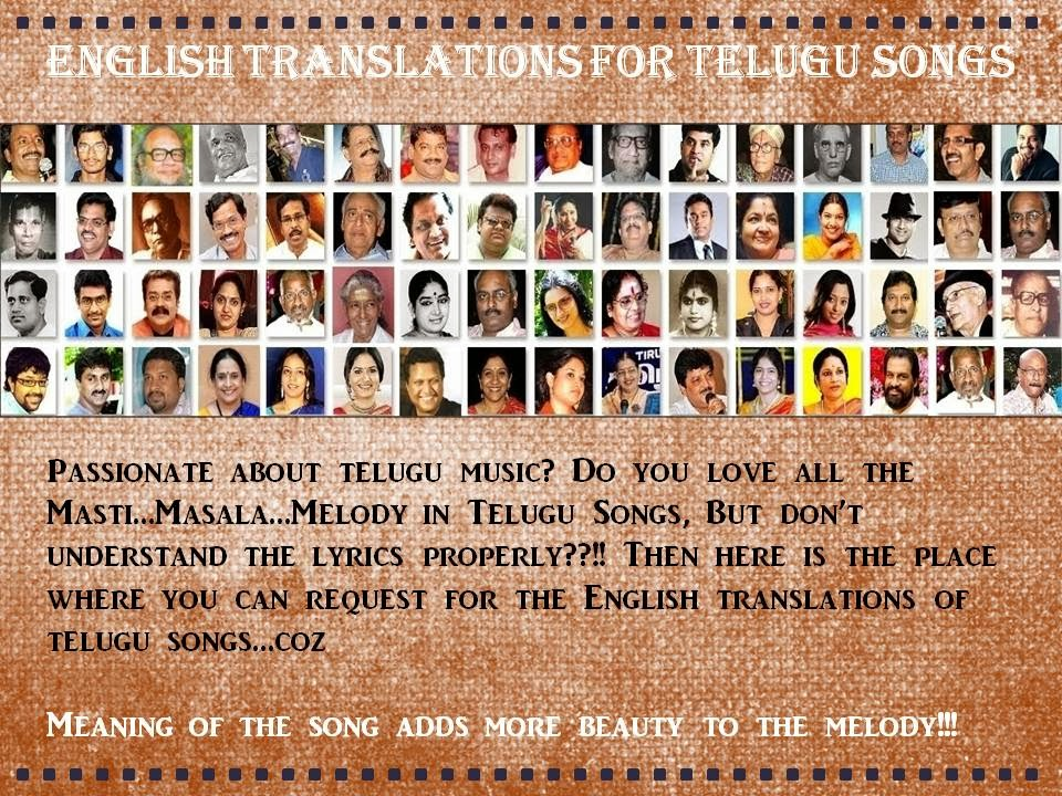 English Translations/Meaning For Telugu Songs