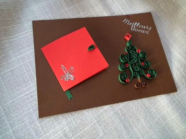 Beautiful paper quilled christmas greeting cards