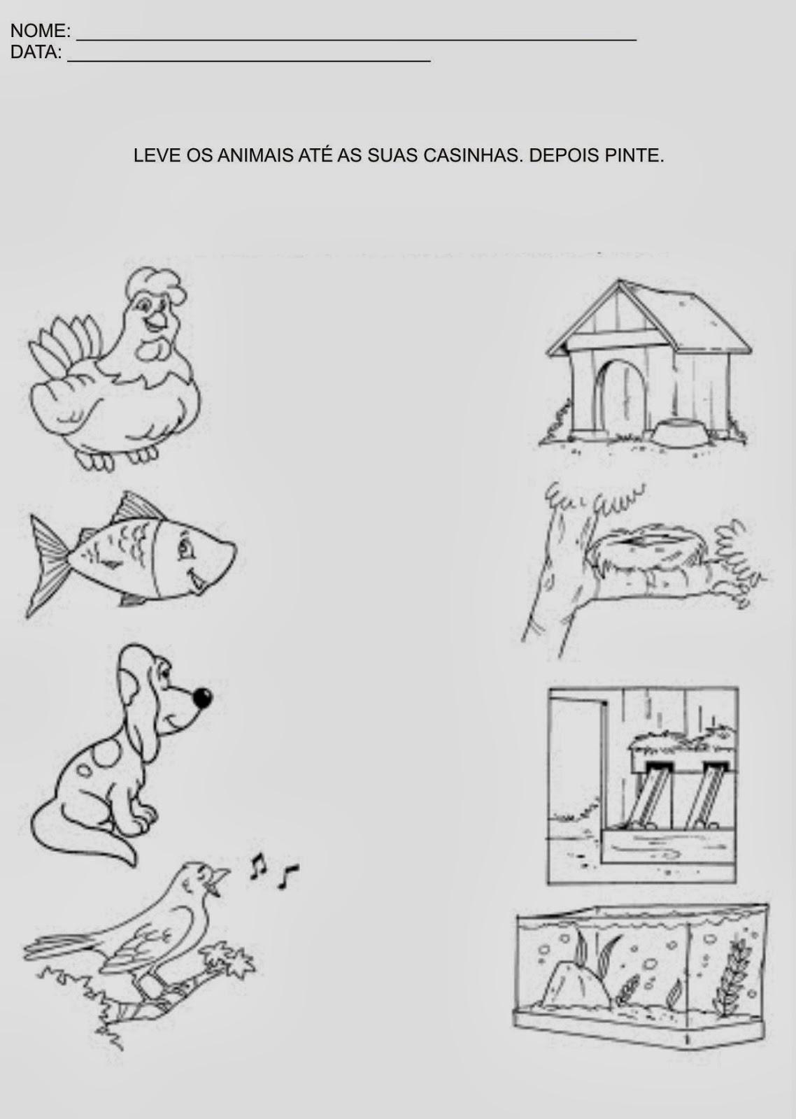 Atividade para Educação Infantil - Leve os animais até as suas casinhas