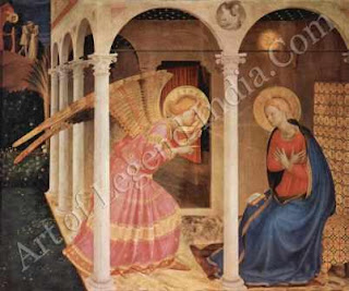 "The Great Artist Fra Angelico Painting ""The Annunciation"" 1433-34 68"" X 70"" Museo Diocesano, Cortona"