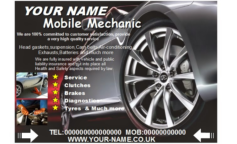 Mobile mechanic leafletsflyerbusiness cards business start up pack we look forward to doing business with you soon colourmoves
