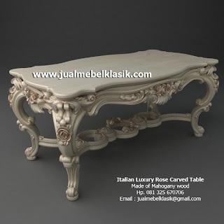 Supplier Mebel Klasik Furniture Klasik Supplier Meja ukir Klasik Meja ukir Mawar Mewah Meja Makan Klasik Mahoni