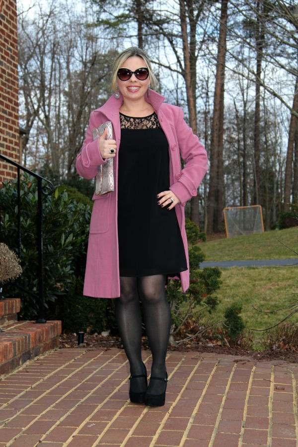 Little Black Dress from Forever 21 (from my closet, but here are their current LBDs), Black Suede Paulie Platform Pumps from BCBGeneration, Pink Coat from Kenneth Cole (from my closet), Pink Clutch from Charming Charlie, Earrings from Forever 21 (similar here), Angled Enamel Sunglasses from MARC by Marc Jacobs