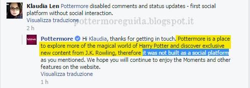 Un commento sulla pagina Facebook di Pottermore
