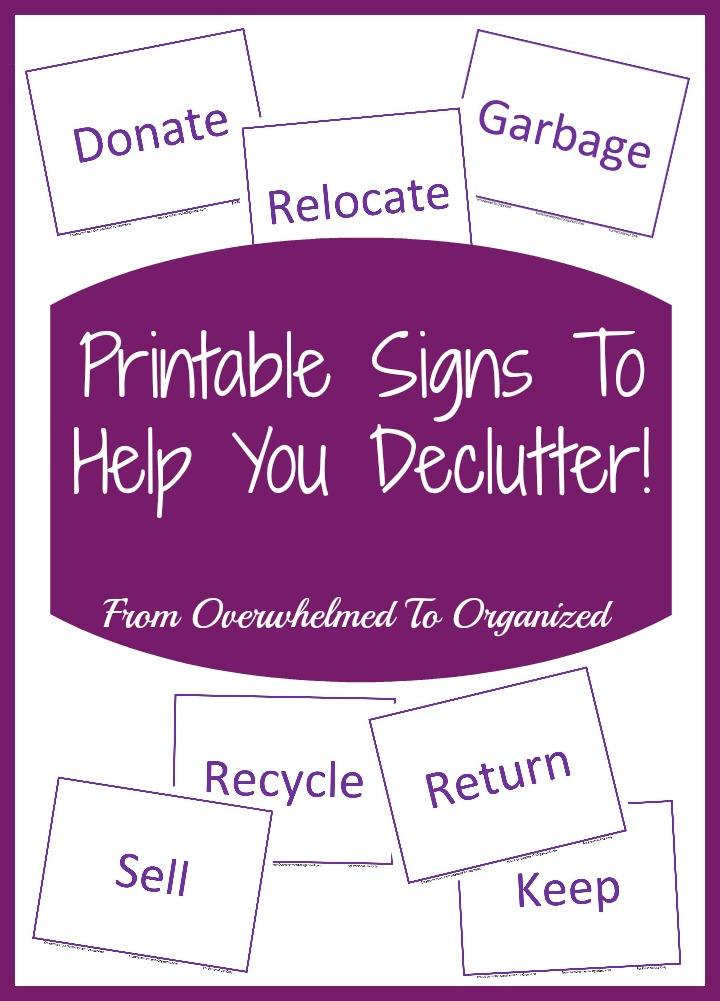 image about Printable Signs named Printable Signs or symptoms toward Support Oneself Declutter! Towards Confused towards