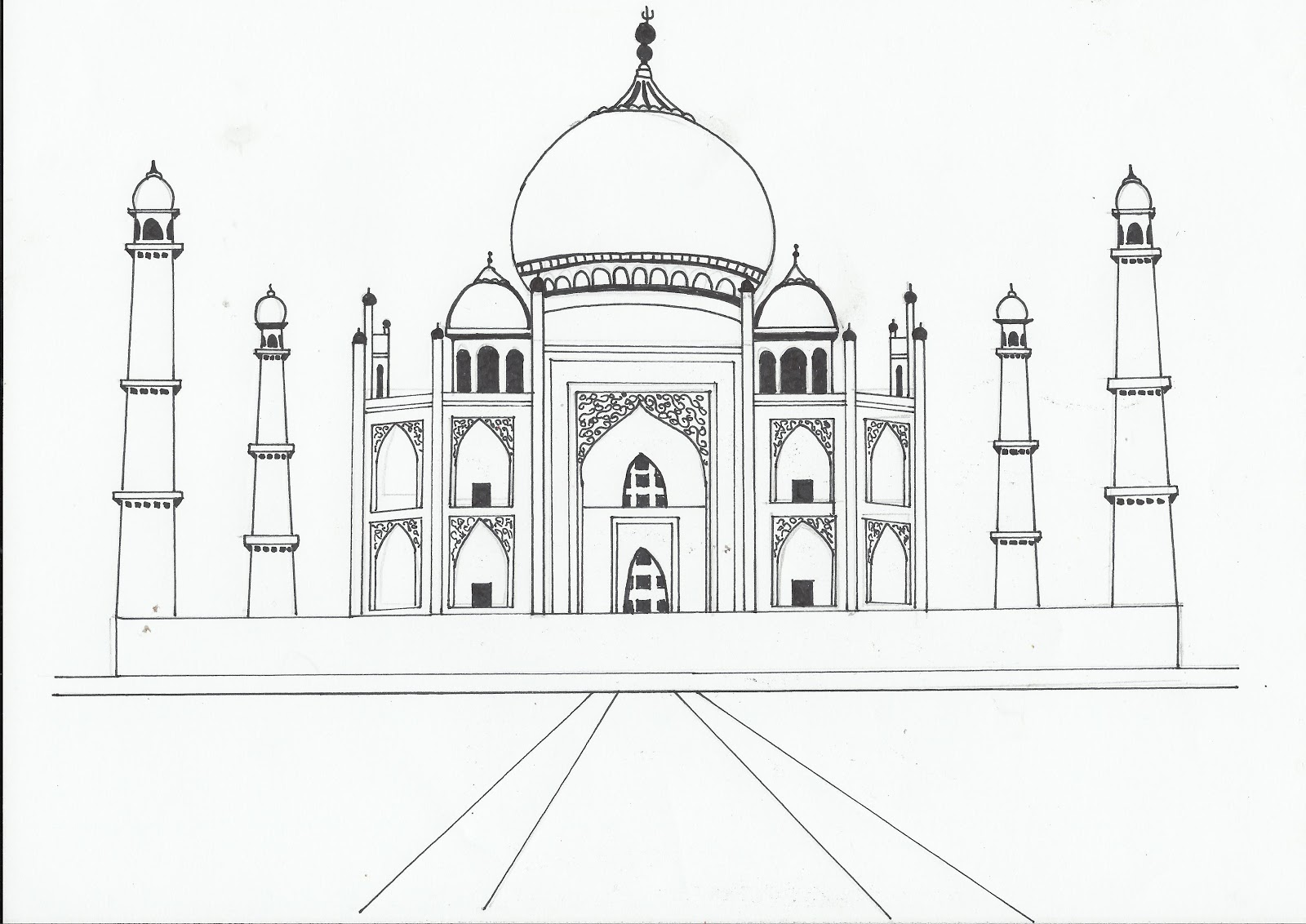 Taj Mahal Line Drawing Easy : Leah s learning log key steps in illustration