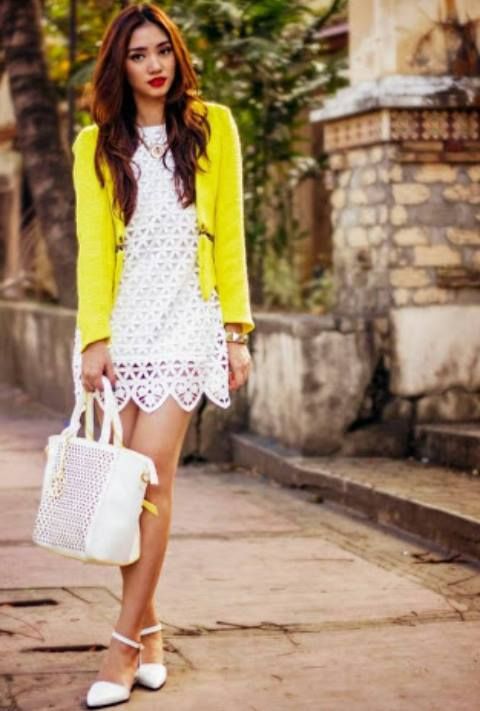 Crochet Dress, Yellow Coat, Hand Bag, Anlkle Strap Heels | Women Fashion