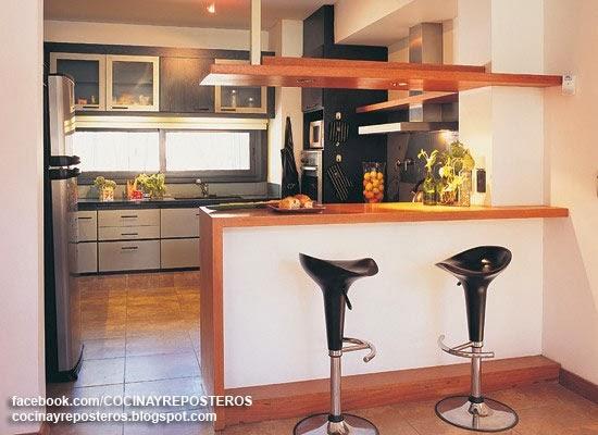 Cocinas con barra cocina y reposteros decoraci n fotos for Cocina con barra de retorno