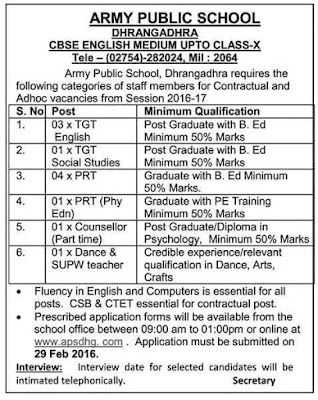 Army Public School Various Recruitment 2016