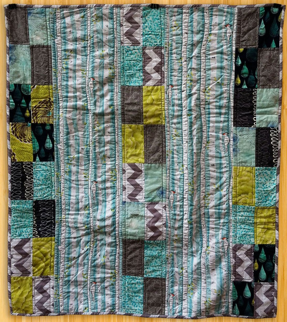 (Made Using Patty Sloniger Backyard Baby Fabric In Birch Forest)
