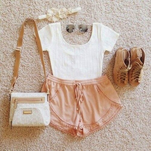 Fabulous modern shorts with top white tee and cute leather hand bag and brown cute soft shoes and black goggles and hair ban the best & awesome summer outfits